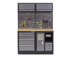 Werkbank mit Hartholzplatte, Hängeschrank, Werkzeugschrank mit 4 Schubladen und Mülleimer- 136 cm