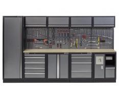 Werkbank mit Hartholzplatte, Lochwand mit Hängeschrank, Werkzeugschrank mit 9 Schubladen und Werkstattschrank - 332 cm