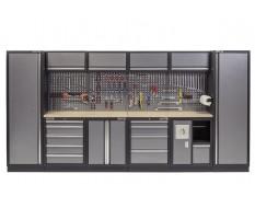 Werkbank mit Multiplexplatte, Lochwand mit Hängeschrank, Werkzeugschrank mit 9 Schubladen und Werkstattschrank - 392 cm