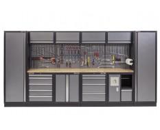 Werkbank mit Hartholzplatte, Lochwand mit Hängeschrank, Werkzeugschrank mit 9 Schubladen und Werkstattschrank - 392 cm