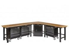 Übereck Werkbank Set 310 cm x 260 cm schwarz mit Hartholzplatte,Werkstattschrank + 3 x Werkstattwagen 5 Schubladen