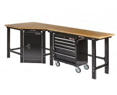 Übereck Werkbank 260cm schwarz mit Hartholzplatte + Werkstattschrank + Werkstattwagen 5 Schubladen - Werkbank Set