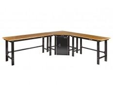 Übereck Werkbank 310 cm x 260 cm schwarz mit Hartholzplatte + Werkstattschrank - über Eck Werkbank