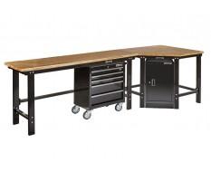 Übereck Werkbank 310 cm schwarz mit Hartholzplatte + Werkstattschrank + Werkstattwagen 5 Schubladen - Werkbank Set
