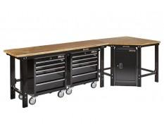 Übereck Werkbank 310 cm schwarz mit Hartholzplatte + Werkstattschrank + 2 x Werkstattwagen 5 Schubladen - Werkbank Set