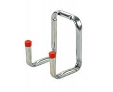 Wandhaken Stahl 115 x 80 mm – Doppelter Wandhaken abgewinkelt verchromt - Gerätehaken
