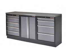 Werkstatt Set mit Metallplatte, Werkzeugschrank - 9 Schubladen - Werkstatteinrichtung - 204 x 46 x 94,6 cm