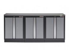 Werkstatt Set mit Metallarbeitsplatte, 3 Werkzeugschränke - Werkstatteinrichtung - 204 x 46 x 94,6 cm