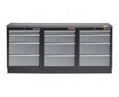 Werkstatt Set mit Metallarbeitsplatte- 12 Schubladen - Werkstatteinrichtung - 204 x 46 x 94,6 cm