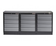 Werkstatt Set mit Metallarbeitsplatte - 15 Schubladen - Werkstatteinrichtung - 204 x 46 x 94,6 cm