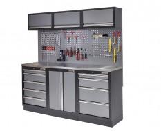 Werkstatt Set mit Metallarbeitsplatte, Werkzeugschrank, Lochwand, 3 x Hängeschrank - 9 Schubladen - 204 x 46 x 94,6 cm
