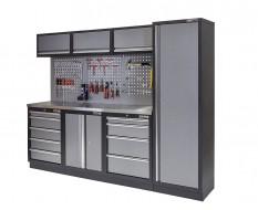 Werkstatt Set mit Metallarbeitsplatte, Hoher Werkzeugschrank, Lochwand, 3 x Hängeschrank - 9 Schubladen - 204 x 46 x 94,6 cm