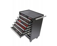 Werkstattwagen bestückt - Werkstattwagen gefüllt Schwarz 9 Schubladen - 6 Schubladen gefüllt mit Werkzeug in Schaumstoffeinlage