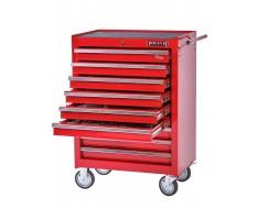 Werkstattwagen bestückt - Werkstattwagen gefüllt Rot 9 Schubladen - 6 Schubladen gefüllt mit Werkzeug in Schaumstoffeinlage