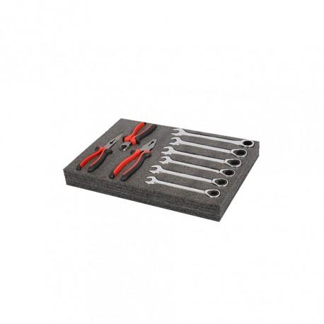 Werkzeug Schaumstoffeinlage 43 x 29 x 5 cm - 6 Lagen - Typ Kaizen foam - EPE Schaumstoff