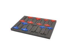 Werkzeug Schaumstoffeinlage 57 x 40 x 3 cm - 4 Lagen - Typ Kaizen foam - EPE Schaumstoff