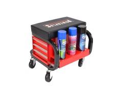 Werkstatthocker rot/schwarz mit 3 Schubladen und Sprühdosen ablage fahrbar - Hocker mobil
