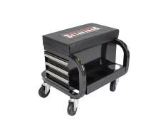 Werkstatthocker schwarz mit 3 Schubladen und Sprühdosen ablage fahrbar - Hocker mobil