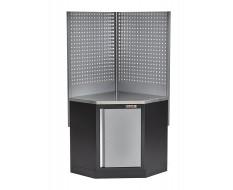 Eck Werkbank mit Werkstattschrank und Lochwand - Hartholz mit Metallbeschichtung - Werkbank Ecklösung - Werkstatteinrichtung