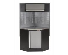 Eck Werkbank mit Werkstattschrank,Hängeschrank und Lochwand - Metallbeschichtung - Werkbank Ecklösung - Werkstatteinrichtung