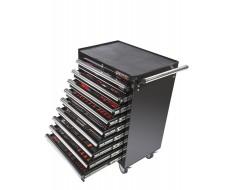 Werkstattwagen Schwarz 9 Schubladen - davon 9 Schubladen gefüllt mit Werkzeug in Schaumstoffeinlage