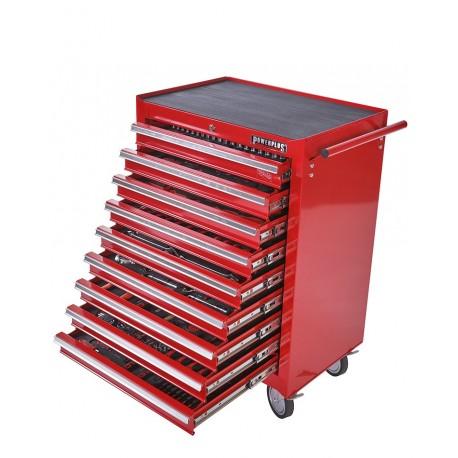 Werkstattwagen Rot 9 Schubladen - davon 9 Schubladen gefüllt mit Werkzeug in Schaumstoffeinlage