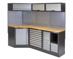 Komplette Werkstatteinrichtung, Werkbank + Eckverbindung mit Hartholzplatte - Werkstatt Set gefüllt mit Werkzeug 223 x 200 cm.