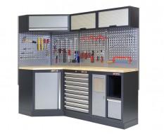 Komplette Werkstatteinrichtung, Werkbank + Eckverbindung mit Multiplexplatte - Werkstatt Set gefüllt mit Werkzeug 223 x 200 cm.
