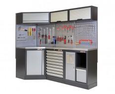 Komplette Werkstatteinrichtung, Werkbank + Eckverbindung mit Metallplatte - Werkstatt Set gefüllt mit Werkzeug 223 x 200 cm.