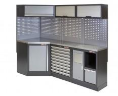 Komplette Werkstatteinrichtung, Werkbank + Eckverbindung mit Metallplatte - Werkstatt Set 223 x 200 cm.
